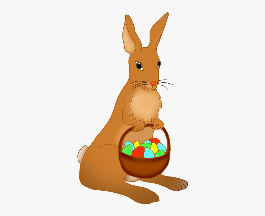 Funny Easter Bunny Clipart - Easter Bunny With Basket Of Eggs, Transparent Clipart