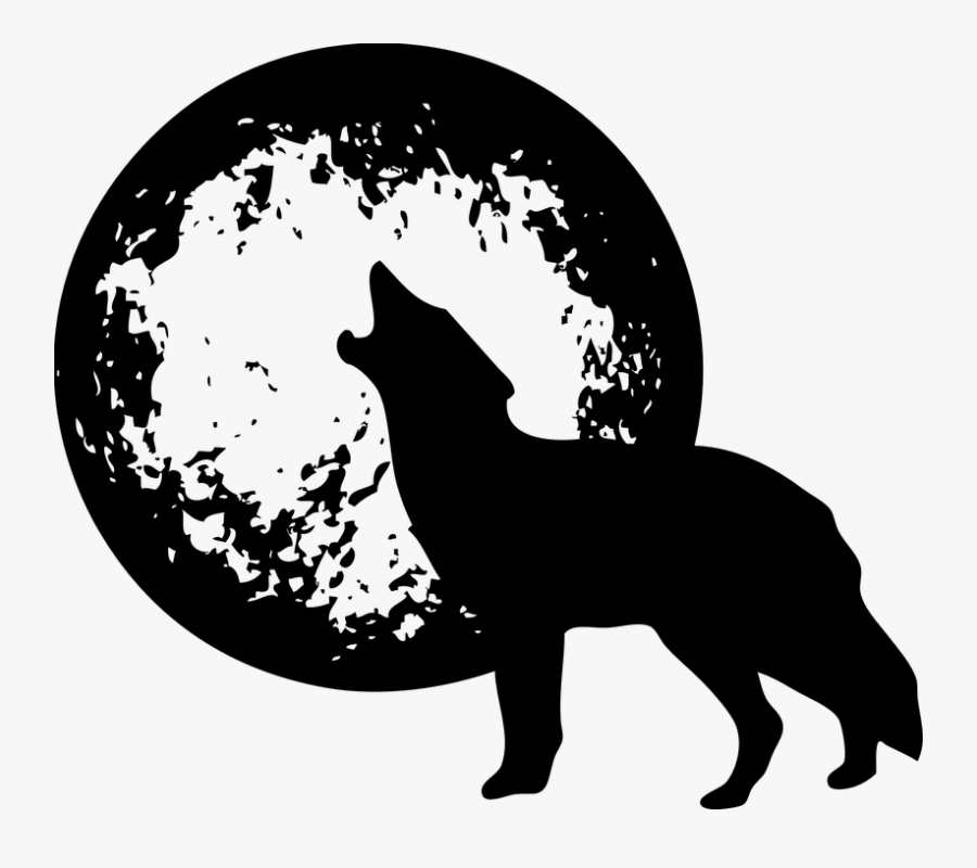 Wolf With Moon - Black And White Wolf Png, Transparent Clipart