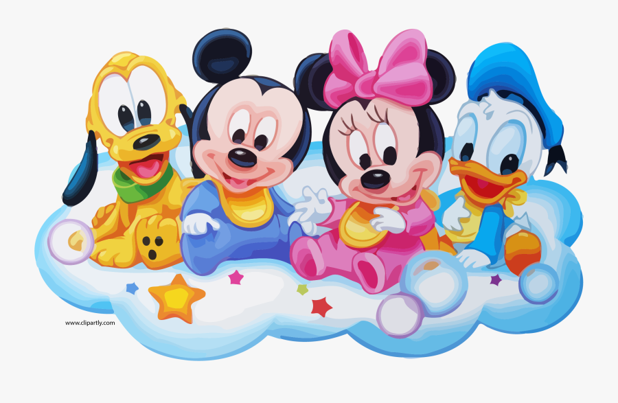 Walt Disney Babies Clipart Page - Baby Minnie And Mickey Mouse Love, Transparent Clipart