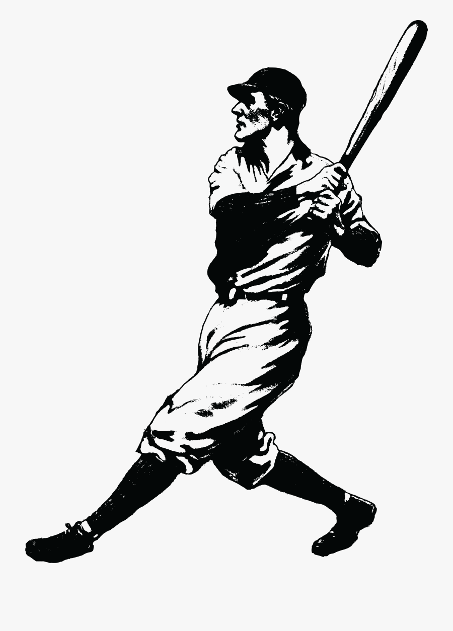 Free Clipart Of A Baseball Player Batting - Vintage Baseball Player Clipart, Transparent Clipart