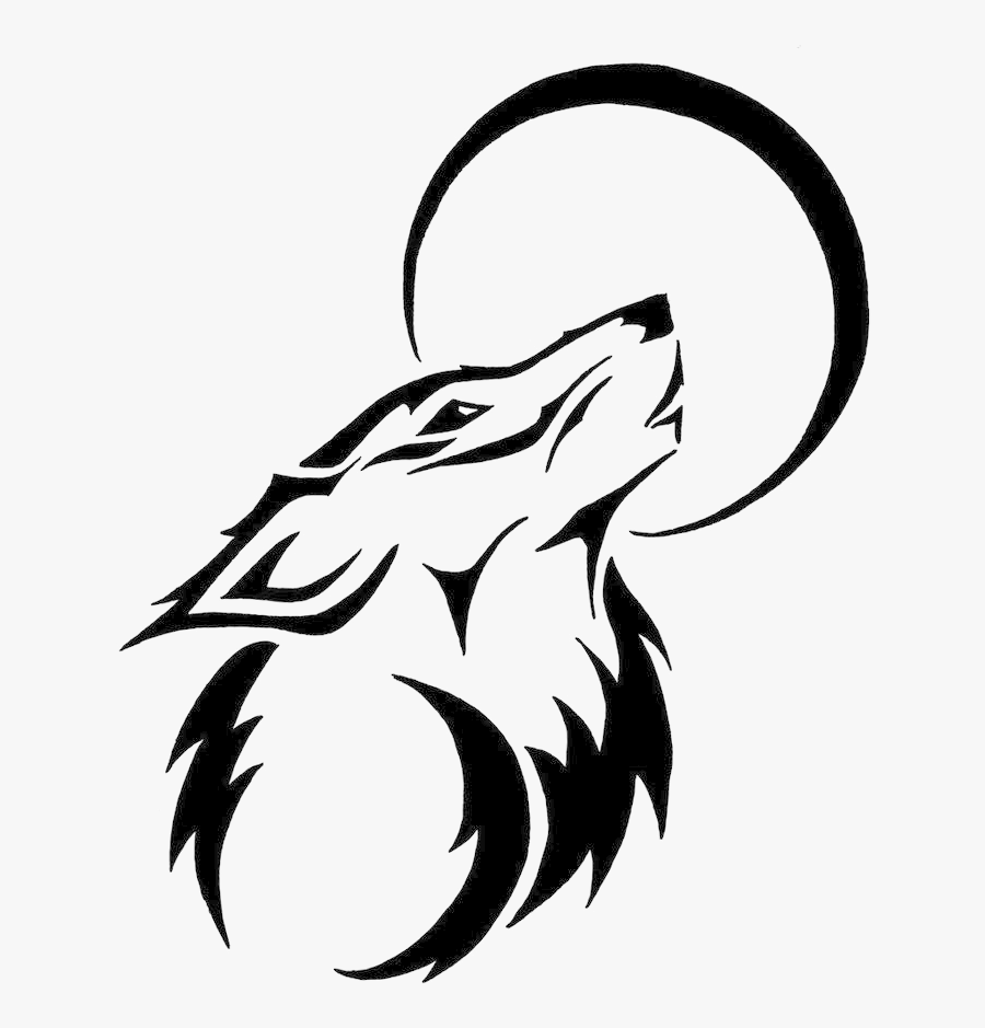 Wolf Tribal Clipart Black And White Transparent Png - Drawing Of Wolf Tattoo, Transparent Clipart