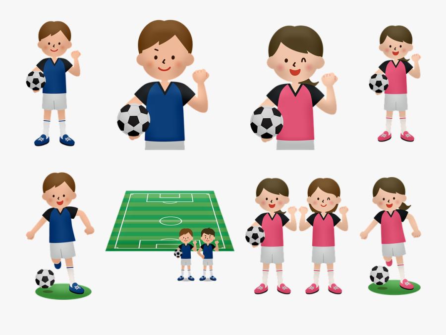 Transparent Soccer Girl Png - 女子 サッカー フリー イラスト, Transparent Clipart