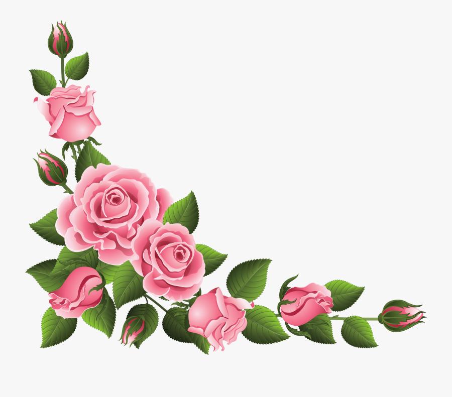Christmas Rose Clipart - Border Rose Flower Design, Transparent Clipart
