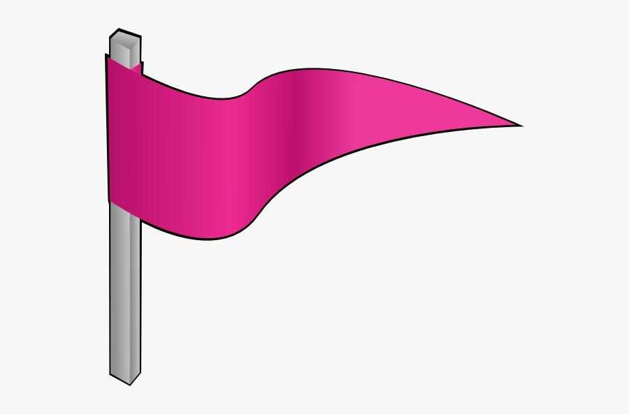 Waving Pink Flag Clip - Pink Flag Clip Art, Transparent Clipart