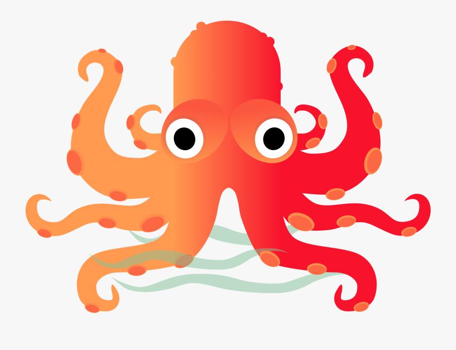 Octopus Clipart Cute Orange - รูป การ์ตูน หมึก น่า รัก, Transparent Clipart