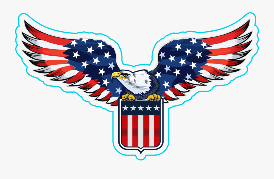 Us Flag Clipart Eagle - Eagles With American Flag, Transparent Clipart