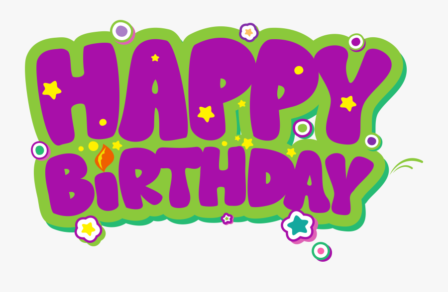 Purple And Green Happy Birthday Png Clipart Picture - Happy Birthday High Resolution, Transparent Clipart