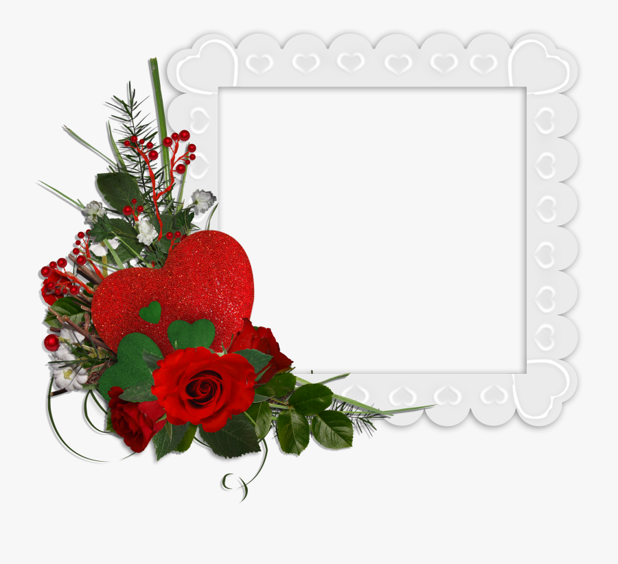 Beautiful White Transparent Frame With Hearts And Red - Beautiful Rose Flower Frames, Transparent Clipart