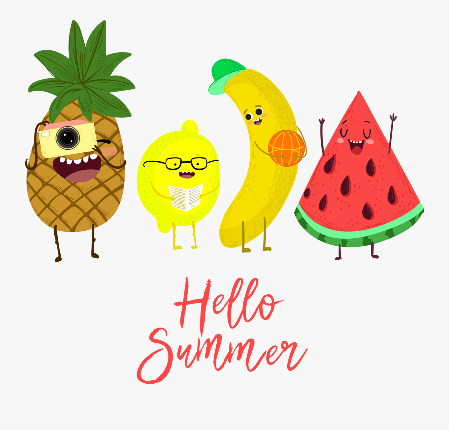 Summer Cute Creative Fruit Watermelon Pineapple Illustrations - Watermelon And Pineapple Clipart, Transparent Clipart
