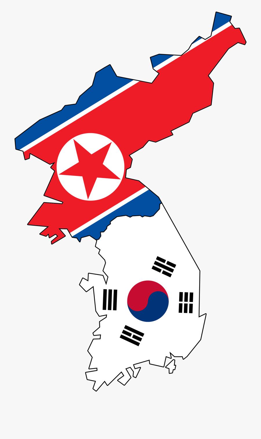 Map Flag Clipart Present - North Korea Flag And South Korea Flag, Transparent Clipart