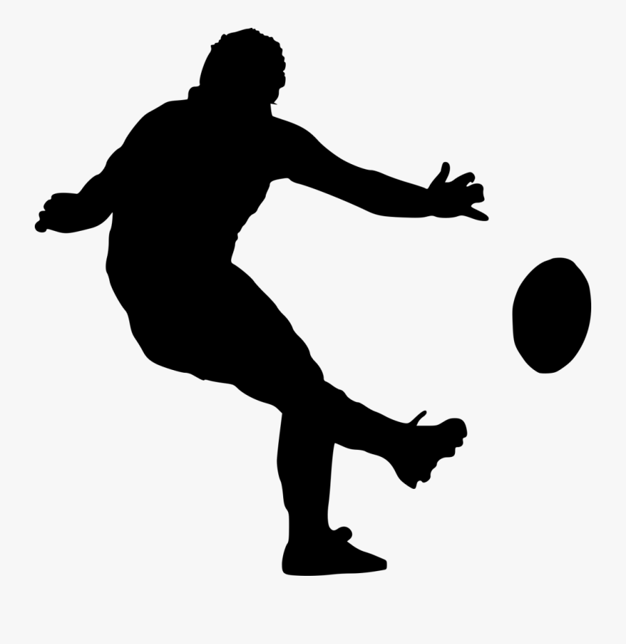 Transparent Soccer Silhouette Png - Drawing Of Rugby Player, Transparent Clipart