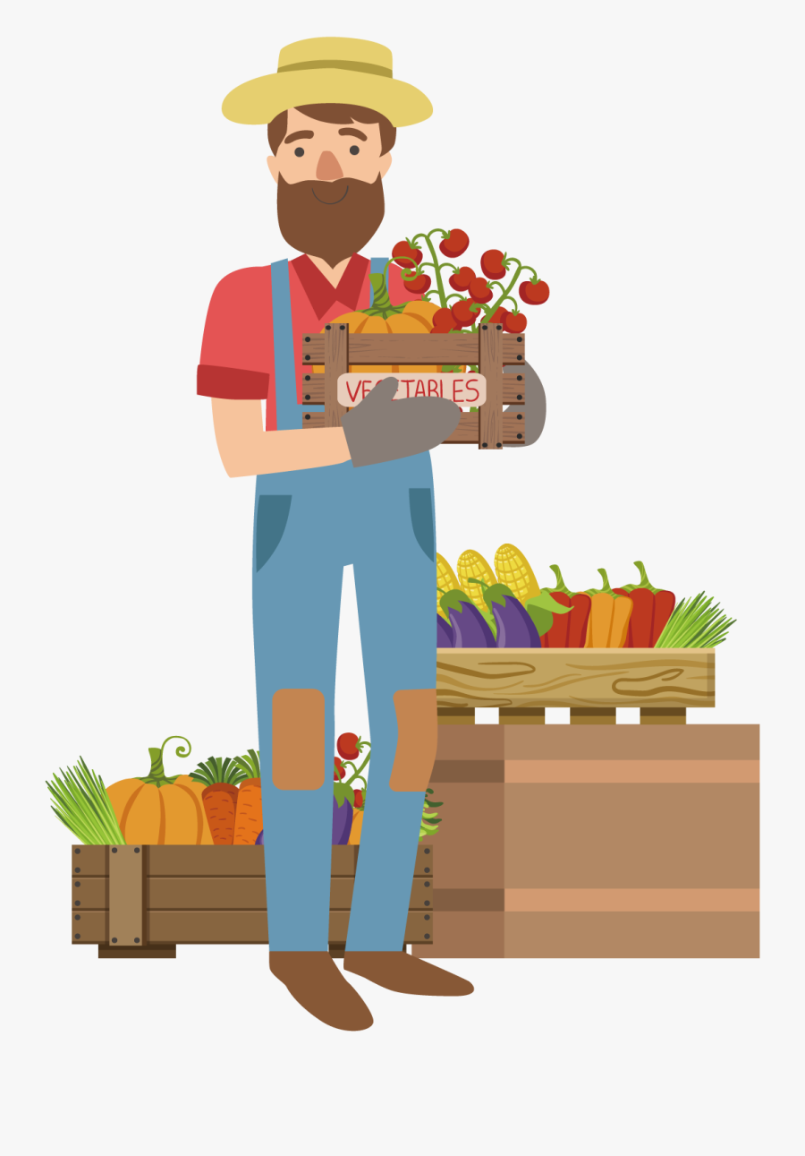 Farming Clipart Vegetable Farm - Vector Cartoon Urban Farmer ...