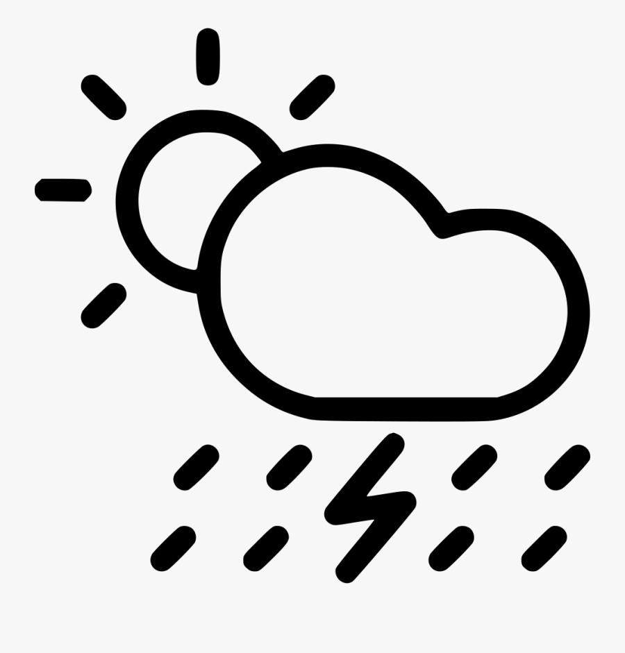 Sun Cloud Rain Clipart - Rain Cloud Sun Clipart Black And White, Transparent Clipart