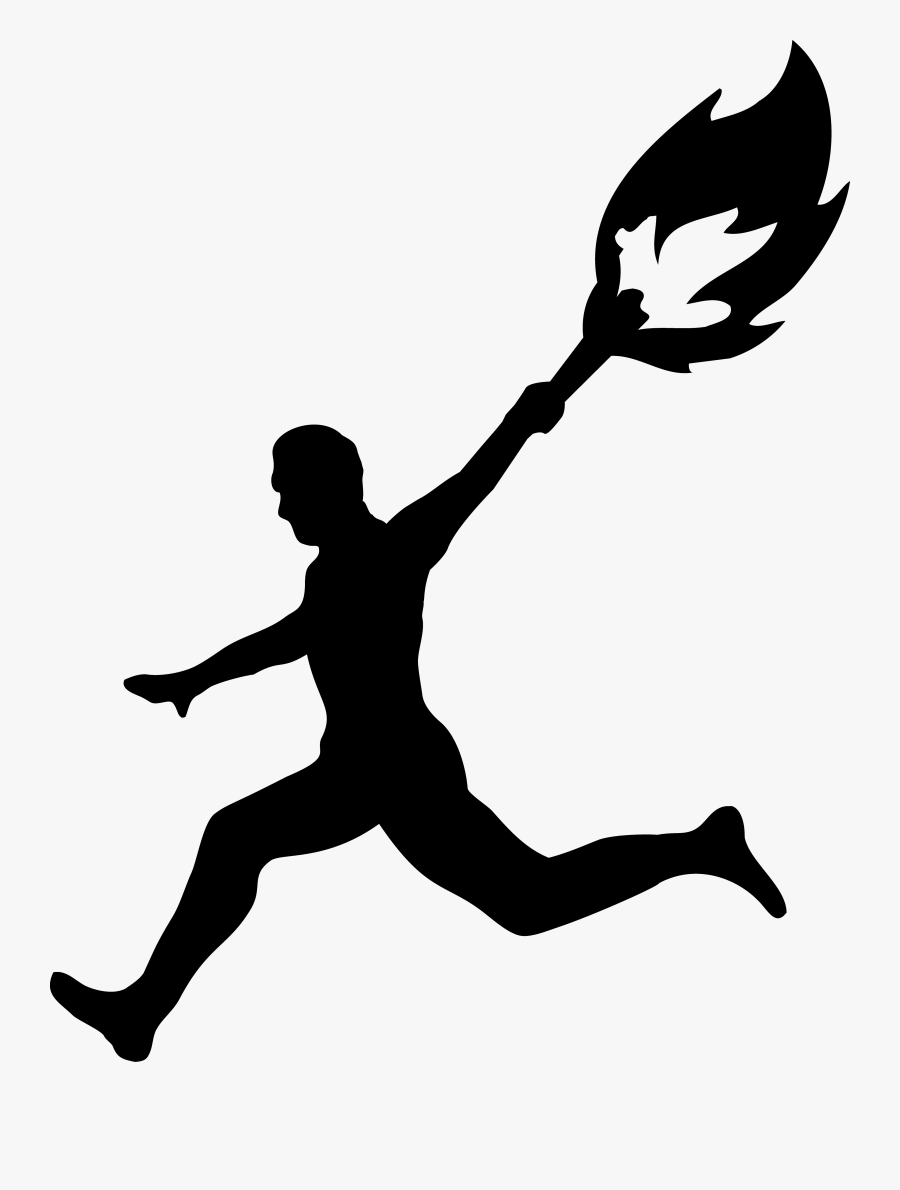Cartoon Person Running Clip Art Library - Man Running With Olympic Torch, Transparent Clipart
