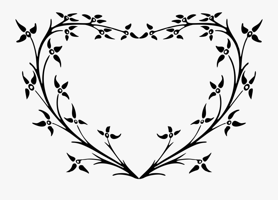 Heart Leaves Clipart - Black Floral Heart Transparent Png, Transparent Clipart