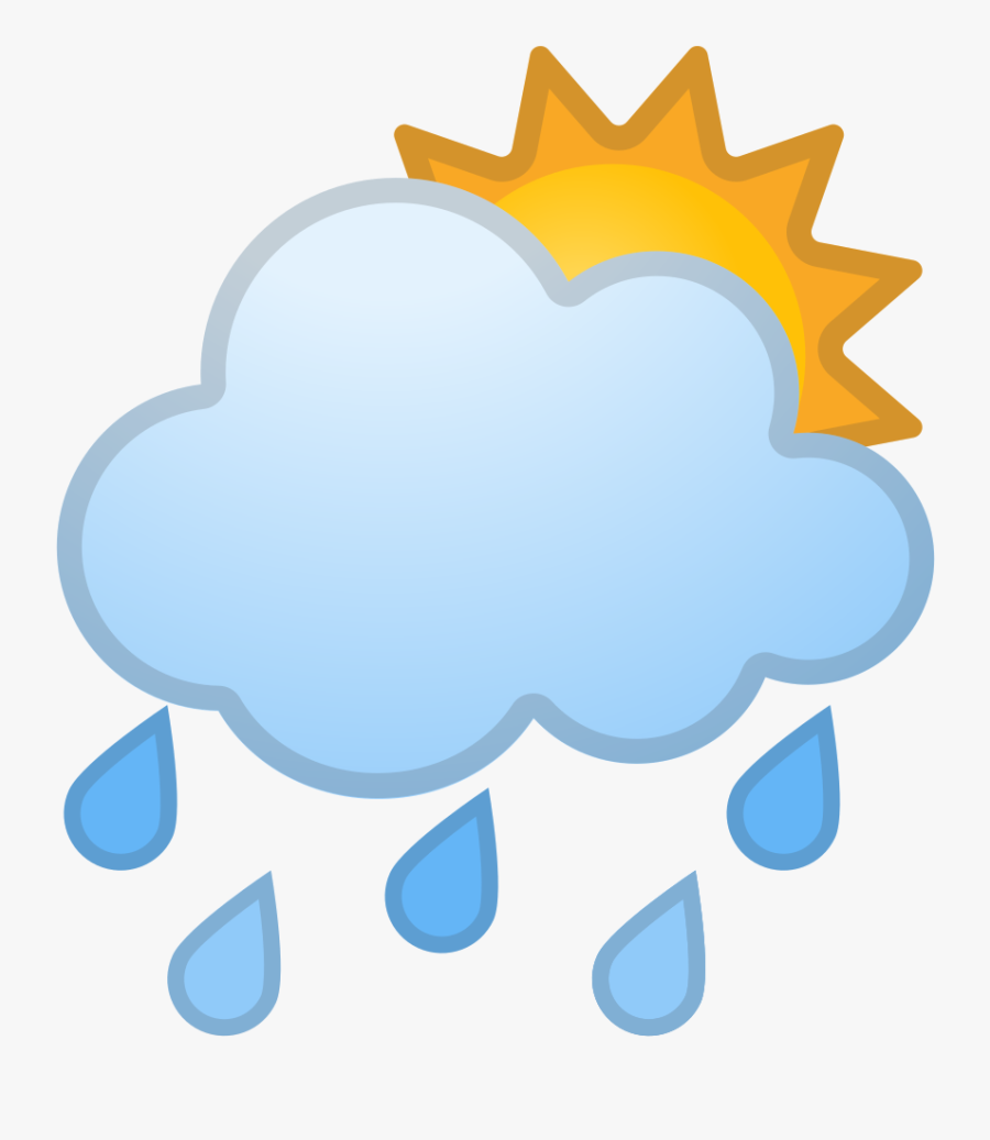 Sun Behind Rain Cloud Icon - Cartoon Clouds With Rain And Sun, Transparent Clipart