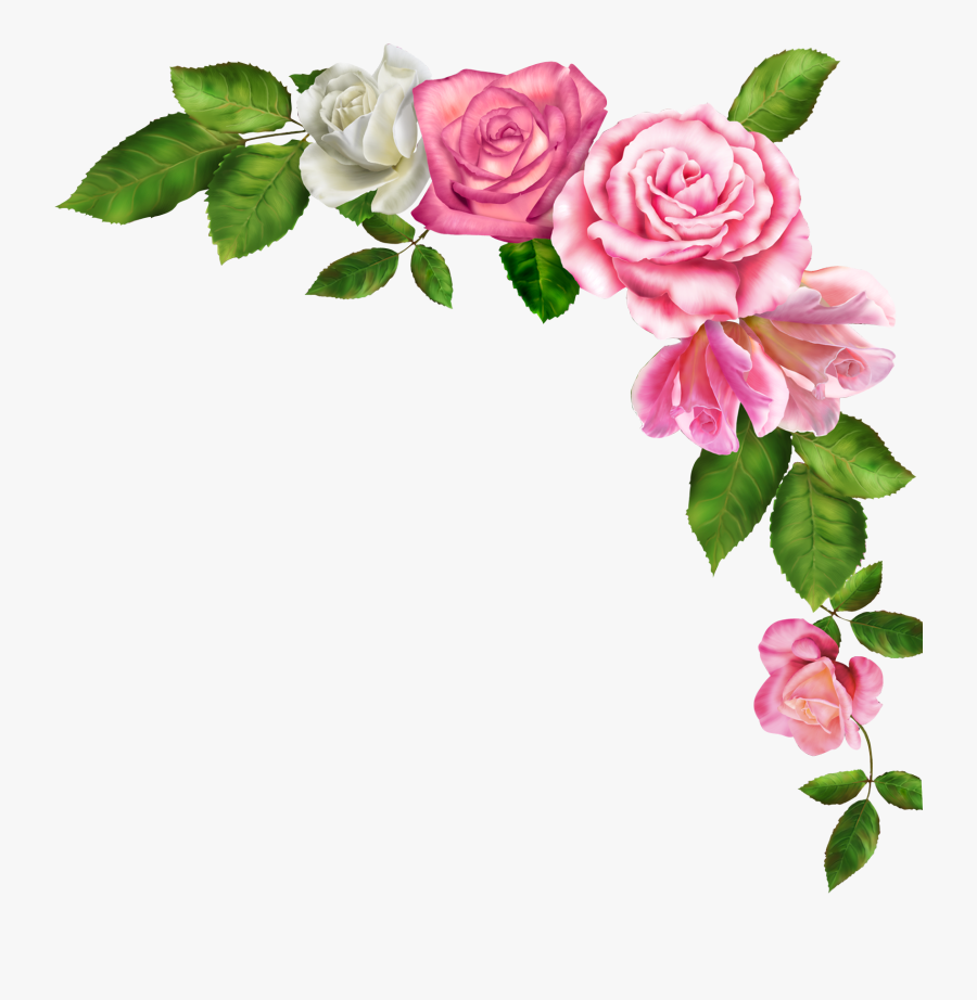 Borders And Frames Pink Flowers Clip Art - Border Line Of Flowers, Transparent Clipart