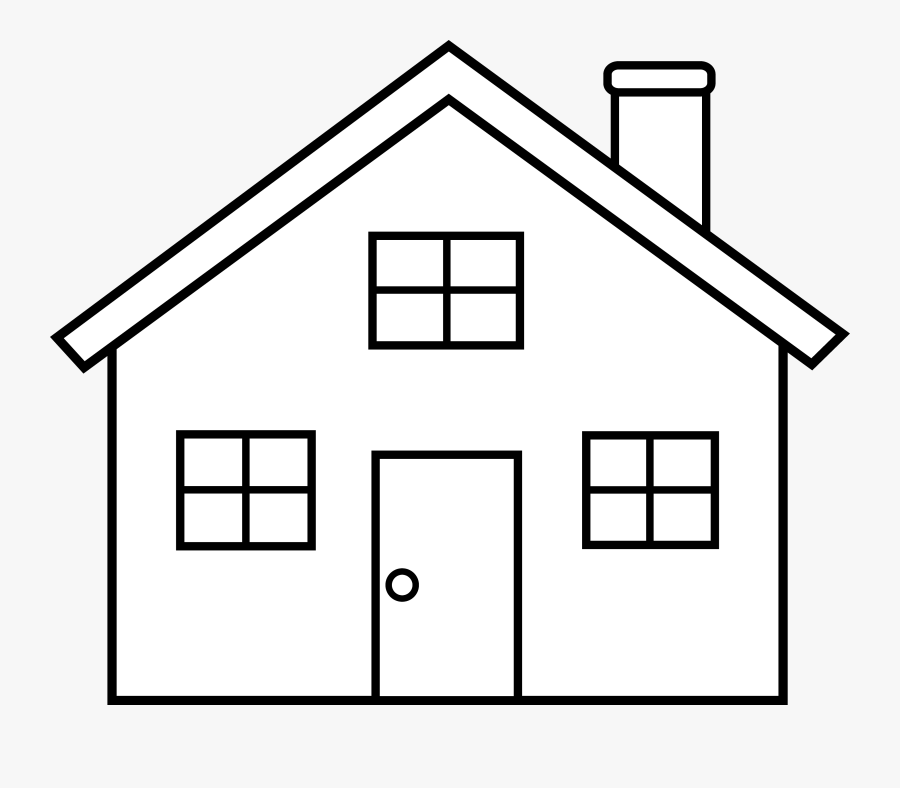 Simple Home Clipart Black And White - House Outline Clip Art, Transparent Clipart