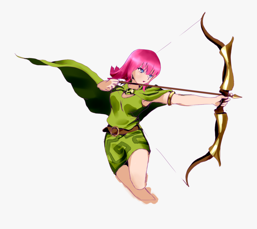Jpg Library Library Archery Drawing Anime - Clash Of Clans Archer Fan Art, Transparent Clipart