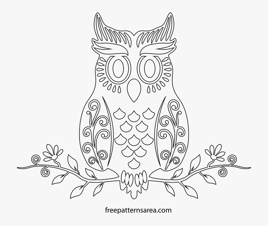 Transparent Owl Clipart Black And White - Owl Drawing Template, Transparent Clipart