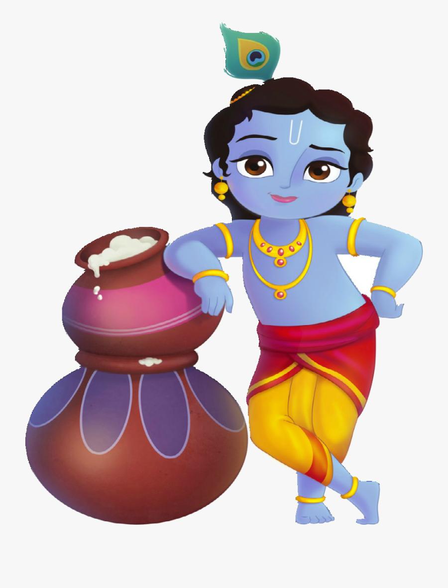 Lord Krishna Standing With Makhan - Little Krishna Cartoon, Transparent Clipart