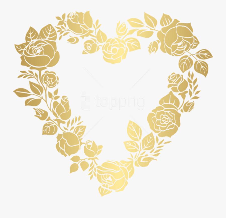Golden Border Designs Png - Gold Heart Frame Png, Transparent Clipart