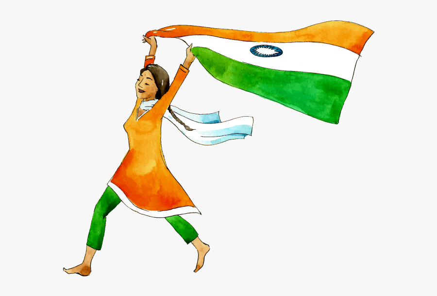 Transparent Girl Raising Hand Clipart - Happy Independence Day 2019, Transparent Clipart