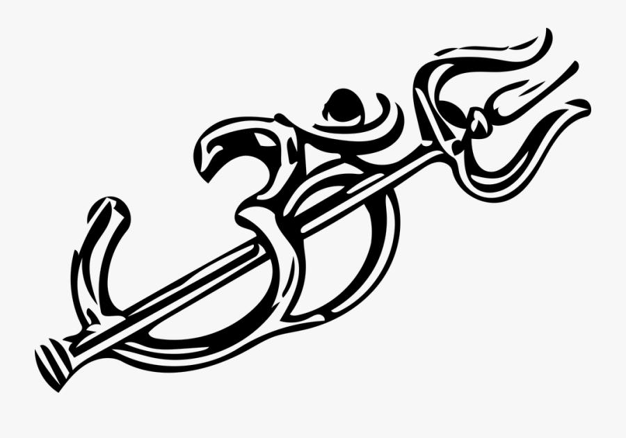 Om Ohm Shiv Shivji Trishul Om Vector Hindu - Om With Trishul Logo, Transparent Clipart