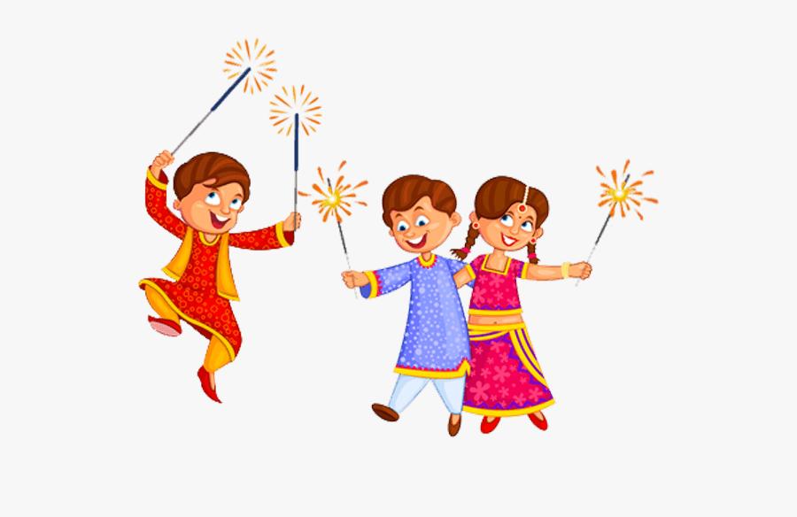 Sparklers Clipart Cracker Line - Diwali Family Pictures Enjoying, Transparent Clipart