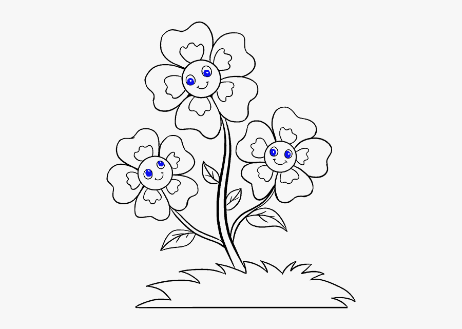 How To Draw Cartoon Flowers Easy Step By Step Drawing - Drawing Flower In Easy Method, Transparent Clipart
