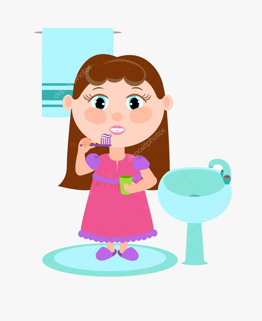 Brush Teeth Girl Brushing Her Clipart About The Children - Brush Teeth Girl Brushing Teeth Clipart, Transparent Clipart