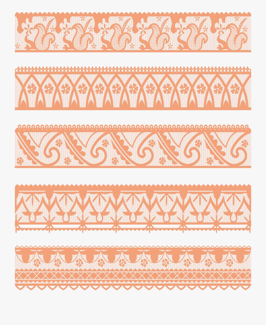 Transparent Simple Lace Patterns Clipart - Peach Lace Png Transparent, Transparent Clipart