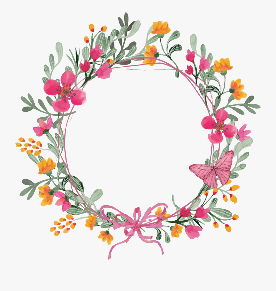 Transparent Clipart Flowers And Butterflies Png - Wreath Of Flowers Clipart, Transparent Clipart
