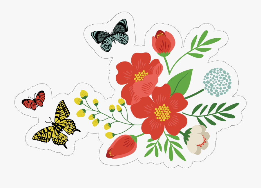 Flowers And Butterflies Print & Cut File - Butterfly Clipart Cut Out, Transparent Clipart