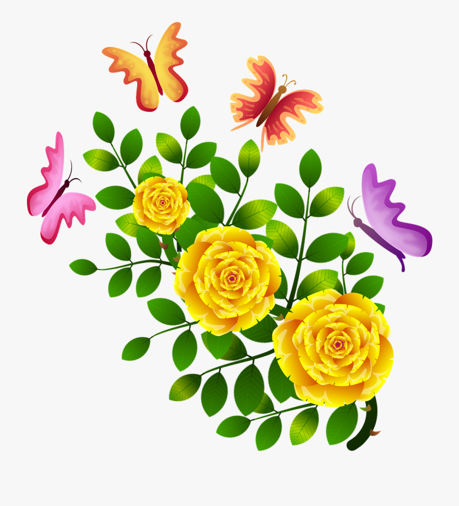 Roses Butterflies Flowers Floral Png Image Clipart - Clipart Flower Design With Butterfly, Transparent Clipart