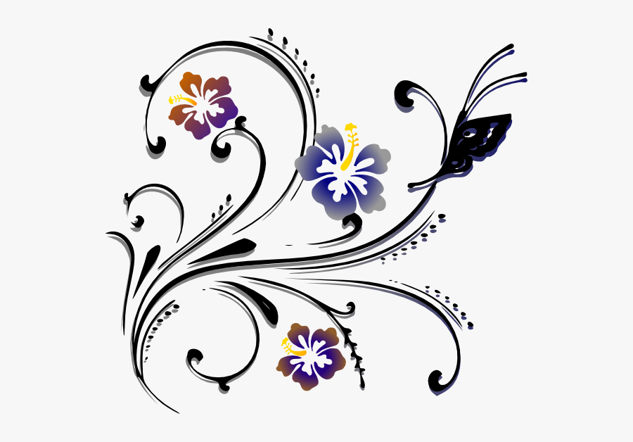 Transparent Scroll Png Image - Clipart Flowers And Butterflies Border, Transparent Clipart