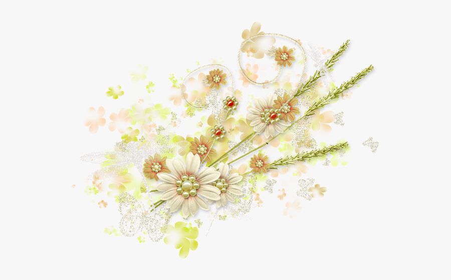 Spring, Summer, Flowers, Greens, Butterfly, Nature - Translucent Floral Background Transparent, Transparent Clipart