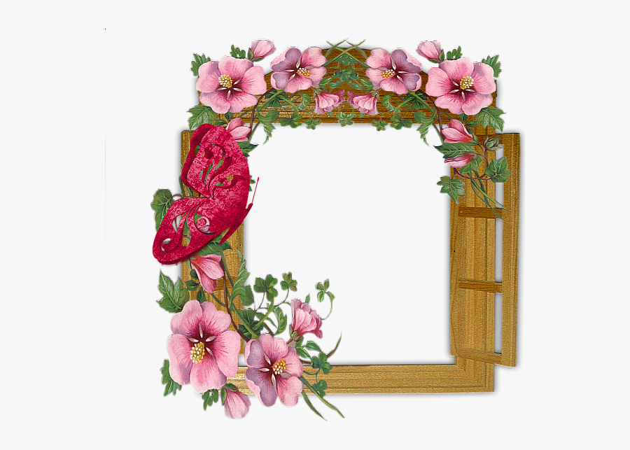 Wooden Winow With Flowers And Butterfly Transparent - Download Flowers Photo Frame, Transparent Clipart