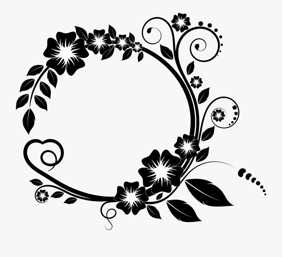 Flower Frame For Mother - Black And White Circle Border Design, Transparent Clipart