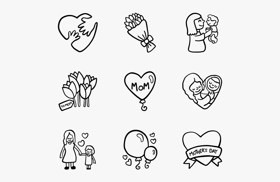 """Mother""""s Day - Mothers Day Icon Transparent Black And White, Transparent Clipart"""