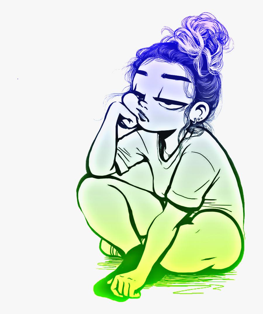 #girl #sadgirl #girls #cartoon #freetoedit - Cartoon Cute Drawing Girl, Transparent Clipart