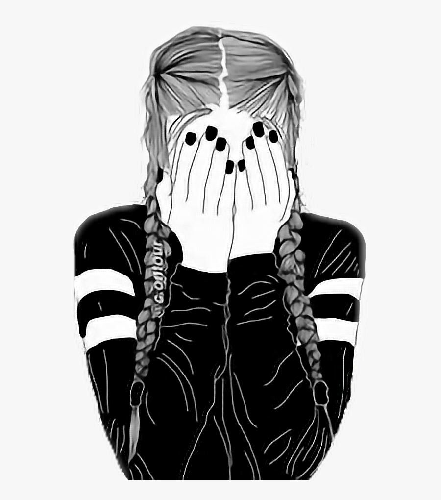 #girl #tumblr #outlines #sad #blackandwhite - Drawing Of A Girl With Braids, Transparent Clipart