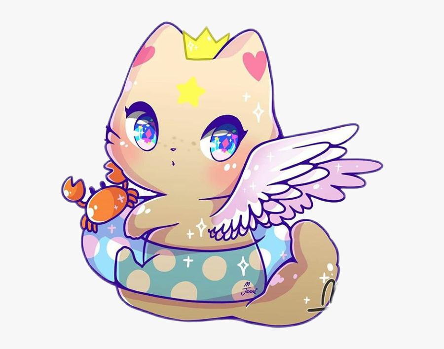 Transparent Summertime Clipart - Kawaii Angel Cat, Transparent Clipart