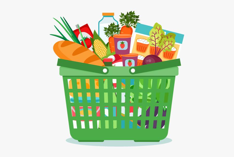 Clipart Box Groceries - Clip Art Food Basket, Transparent Clipart