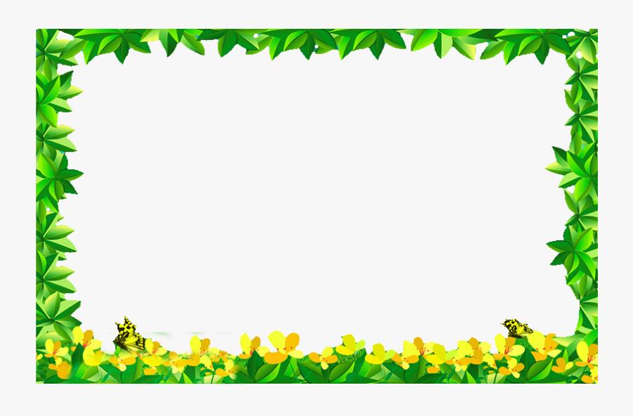 Flowers Green Leaves Border Png Download - Green Leaf Border Png, Transparent Clipart