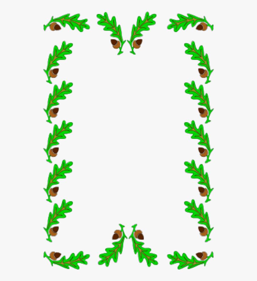 Border Decoration Oak Leaves - Clip Art Holly Leaves, Transparent Clipart