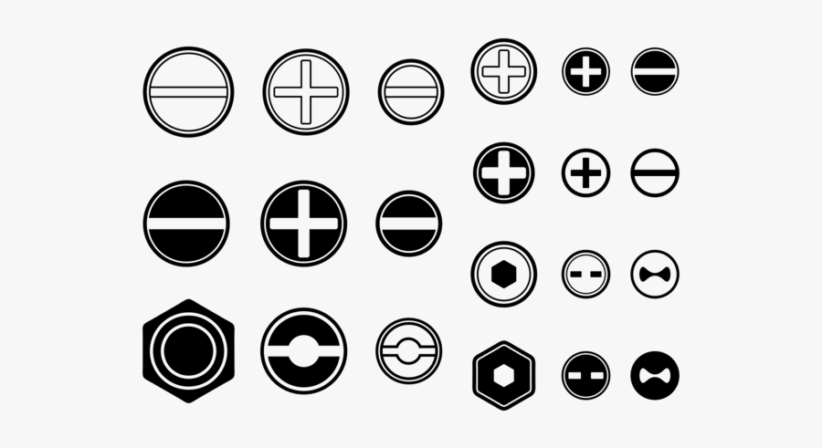 Screws / Nuts / Nail Vector Icon - Phillips Screw Head Vector, Transparent Clipart
