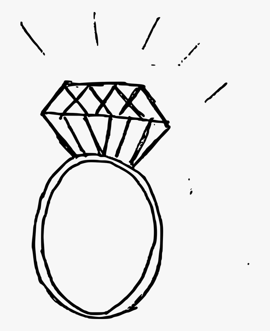 Diamond Ring Drawing Png Clipart , Png Download - Engagement Ring Drawing Png, Transparent Clipart
