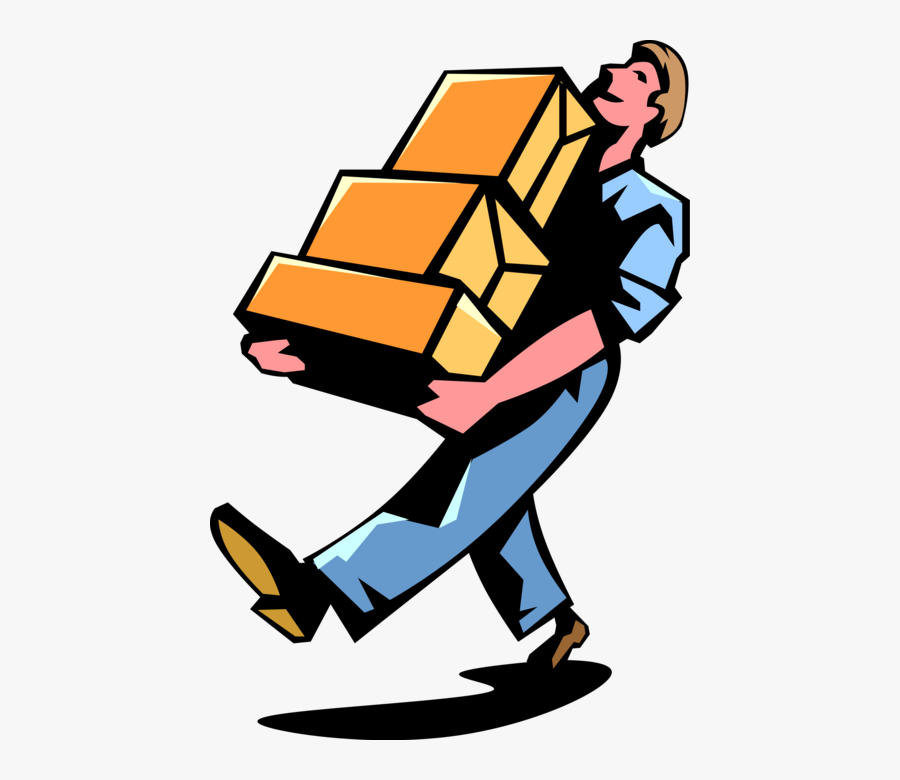 Delivers Mail Packages Vector - Man Carrying Boxes Clipart, Transparent Clipart