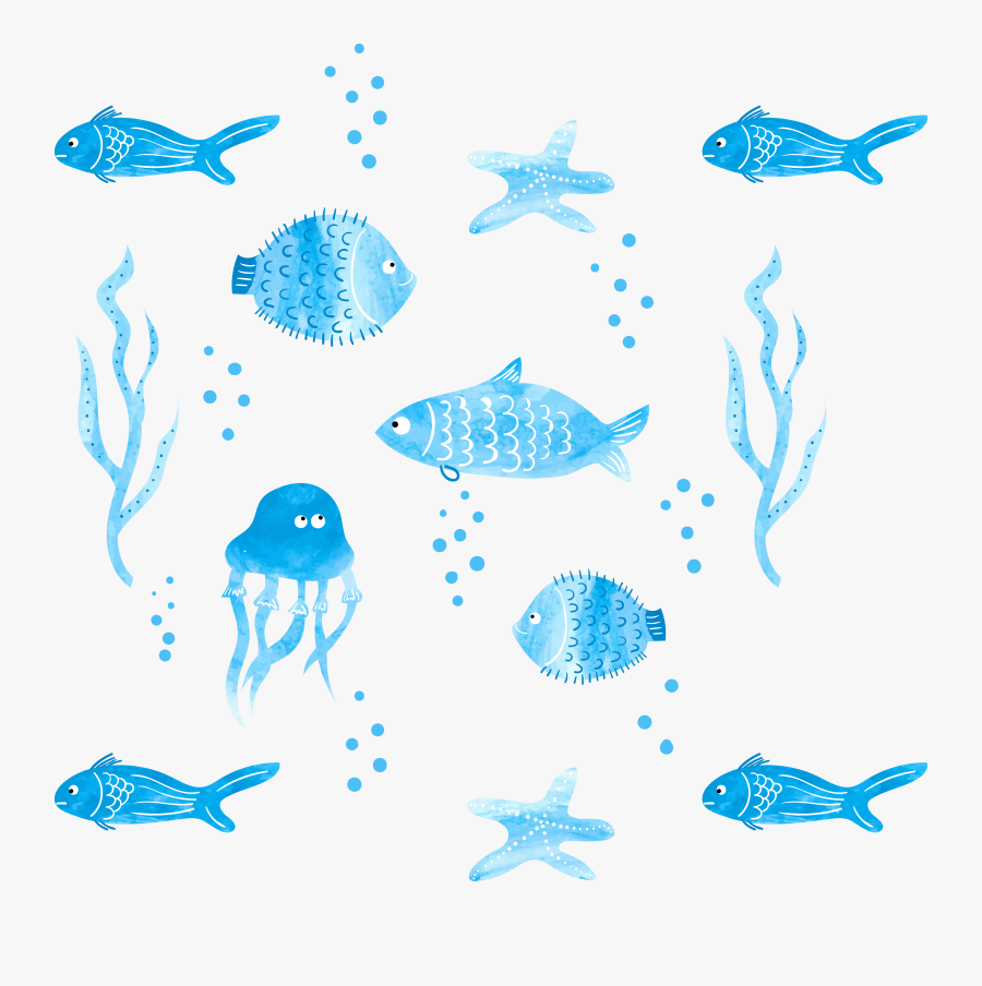 Fish Black And White Png -png Black And White Stock - Fish Illustration Watercolor, Transparent Clipart